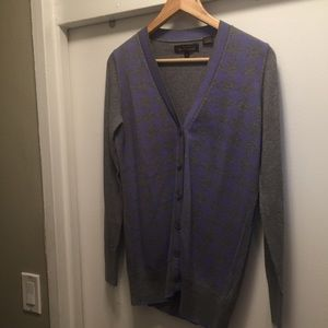 Ben Sherman gray and purple argyle button up
